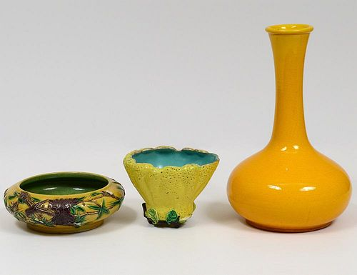 GROUP OF THREE YELLOW GLAZED PORCELAIN ARTICLES