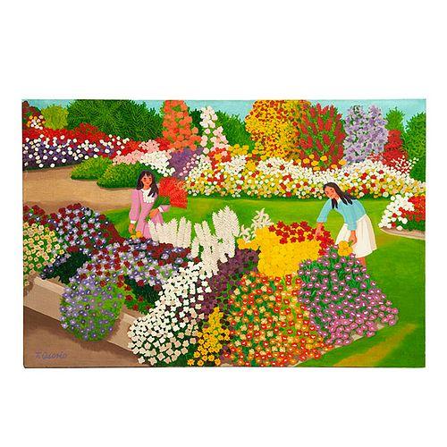 TRINIDAD OSORIO. Niñas en el parque. Firmado. Óleo sobre tela. 50 x 75 cm.