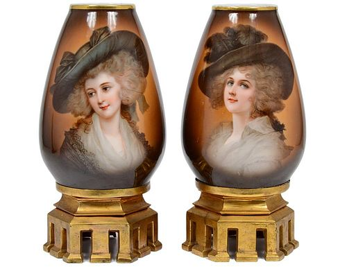 PAIR OF CONTINENTAL PORCELAIN PORTRAIT VASES