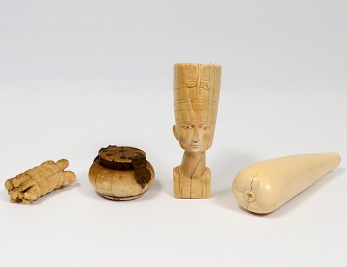 GROUP OF FOUR ASSORTED IVORY STUDIES
