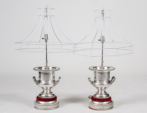 PAIR OF SILVER PLATED WINE COOLERS