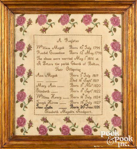 Stockport England silk on linen family register