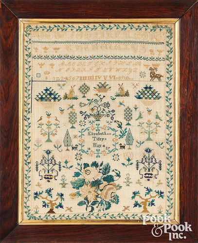 English silk on linen sampler, dated 1857