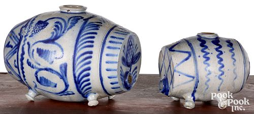 Two German stoneware kegs, 19th c., with cobalt