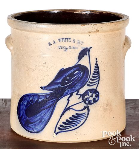 NY stoneware crock, White & Son bird