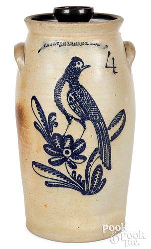 NY stoneware churn, Stetzenmeyer bird & flower