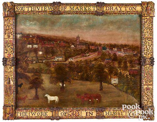 English folk art cityscape and frame