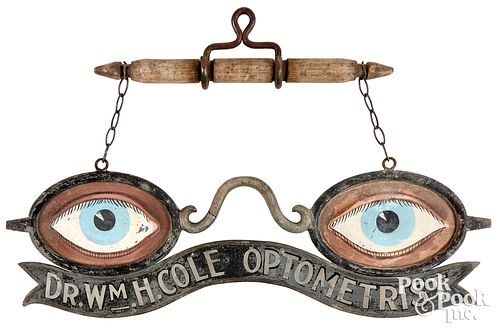 Painted lead and zinc trade sign, eye glasses