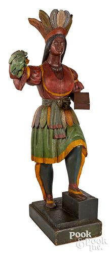 Carved and painted cigar store Indian maiden