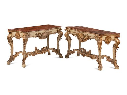 A Pair of Italian Painted and Parcel Gilt Console Tables with Faux Marble Tops
