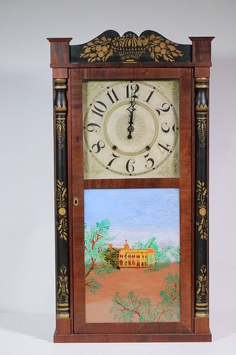 AMERICAN MAHOGANY BRACKET CLOCK WITH OGEE GLASS PAINTINGS