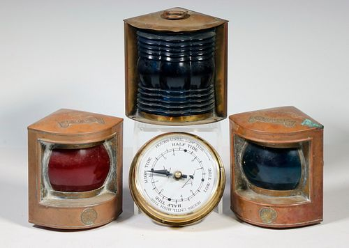 (3) MARINE RUNNING LIGHTS & (1) TIDE CLOCK