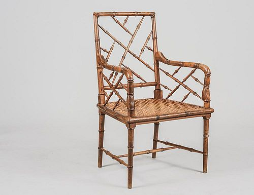 FAUX BAMBOO AND CANE ARM CHAIR