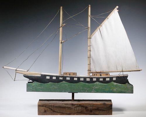 WOOD AND TIN SHIP WEATHERVANE