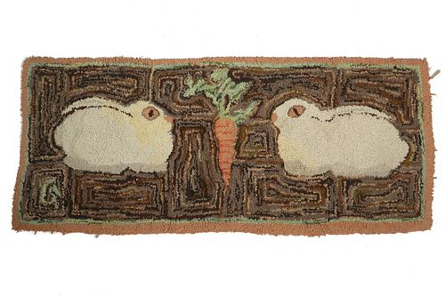 """ANTIQUE HOOKED RUG OF RABBITS - 17"""" x 38"""""""