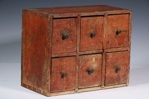 EARLY PAINTED SPICE CHEST