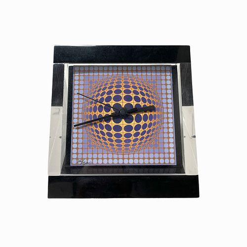 Encased Victor Vasarely Tabletop Clock
