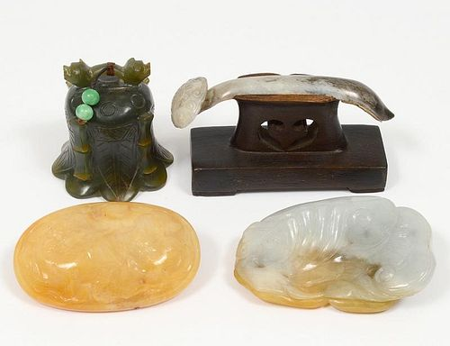 GROUP OF FOUR VARIOUS JADE ARTICLES