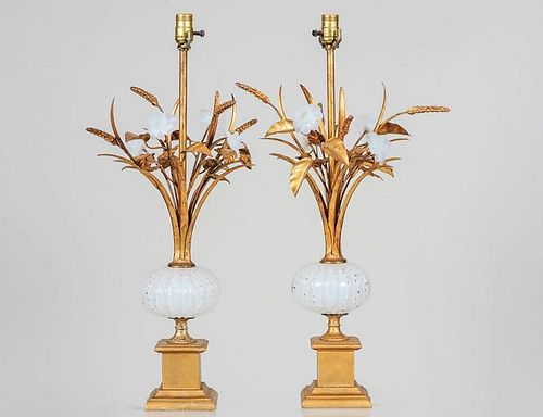 PAIR OF GILT METAL, GILT WOOD AND OPALESCENT GLASS LAMPS