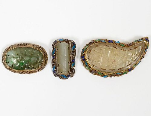 GROUP OF THREE SILVER FILIGREE, ENAMEL AND JADE BROOCHES