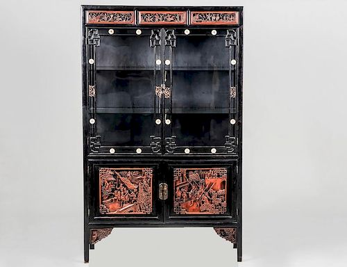 CARVED AND IVORY INLAID CURIO CABINET