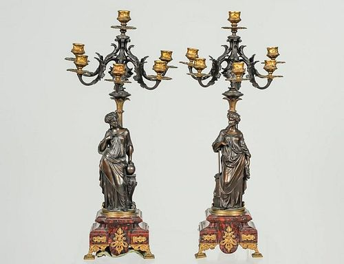 PAIR OF PATINATED AND GILT BRONZE SEVEN LIGHT CANDELABRAS