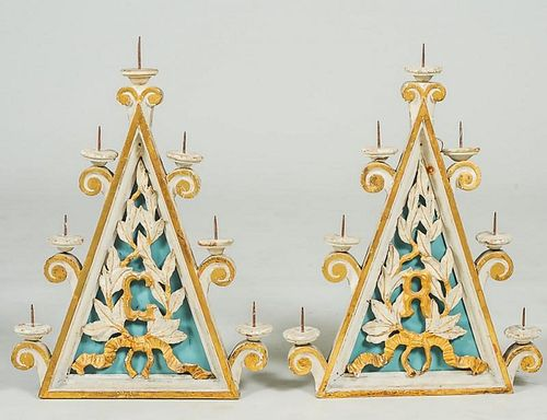 PAIR OF PAINTED AND GILT SEVEN LIGHT WALL PRICKET SCONCES