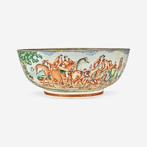 A Chinese Export porcelain gilt and polychrome decorated punch bowl with hunt scene 18th century