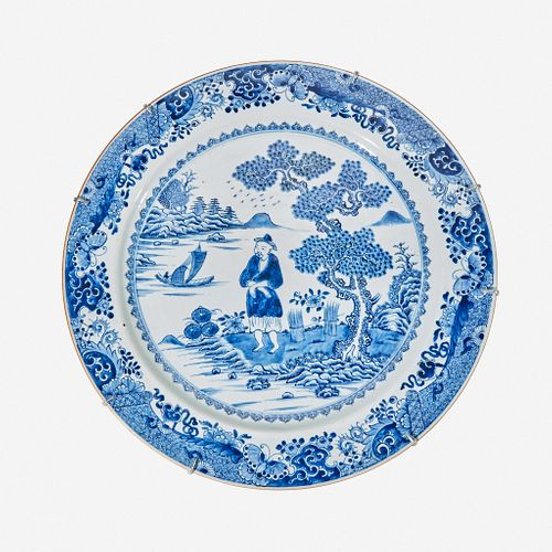A large Chinese porcelain blue and white charger late 18th/early 19th century