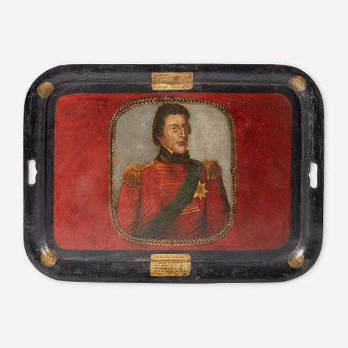 A German toleware tray commemorating the Duke of Wellington (1769-1852) early 19th century