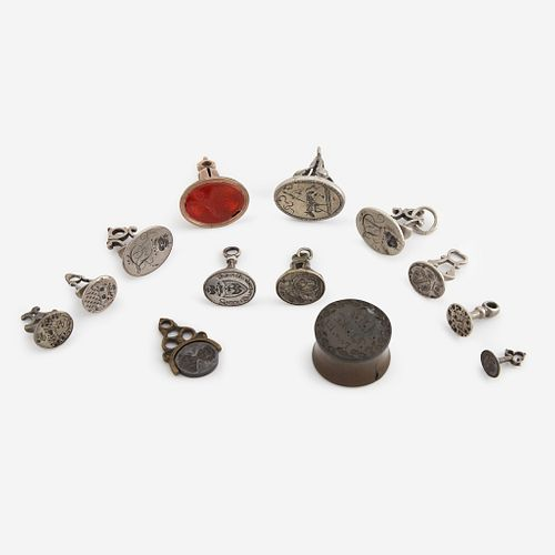 A collection of thirteen silver, gold, and metal fob seals/seals European and American, 16th - early 19th century