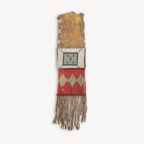 A Central Plains beaded and quilled hide pipe bag Late 19th century