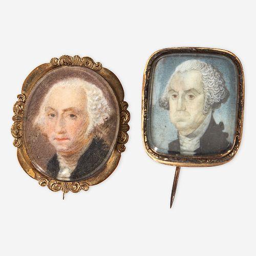 Two commemorative portrait miniatures of George Washington first half 19th century