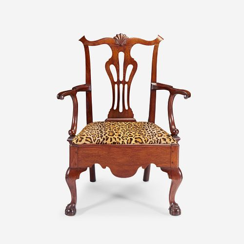 A Chippendale walnut armchair Delaware Valley, 18th century with later alterations