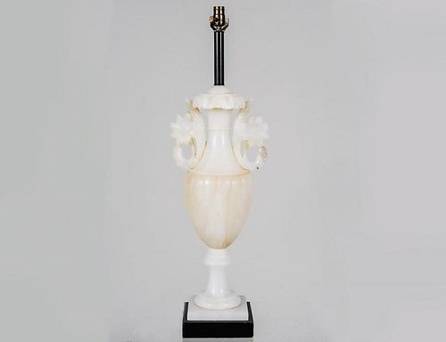 CARVED ALABASTER LAMP