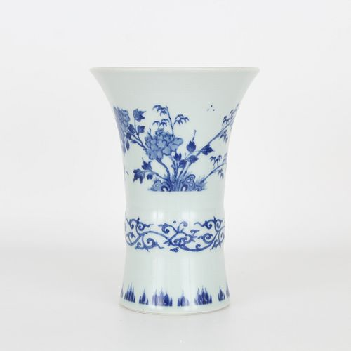 Blue/White Gu Form Chinese Vase, Ming