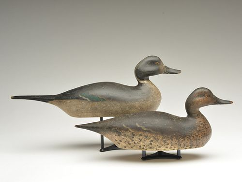 Important pair of pintails, Mason Decoy Factory, Detroit, Michigan, circa 1890s.