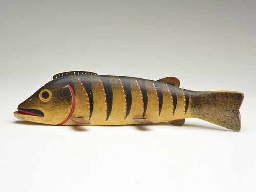Possibly the most important fish decoy carved by Oscar Peterson, Cadillac, Michigan, 2nd quarter 20th century.