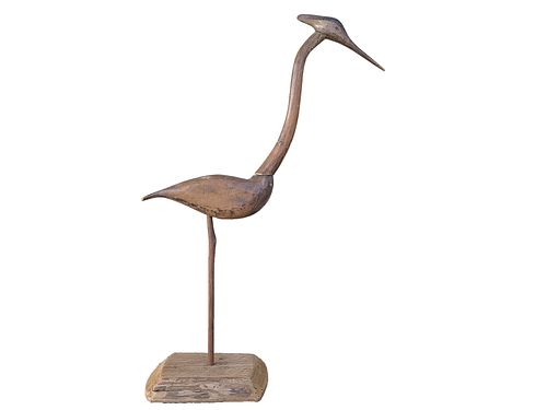 The best and most important great blue heron decoy to ever be offered at auction, 2nd half 19th century, an unknown carver from New Jersey.