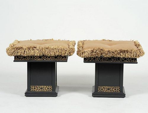 PAIR OF DOROTHY DRAPER STYLE PARCEL GILT AND EBONIZED BENCHES