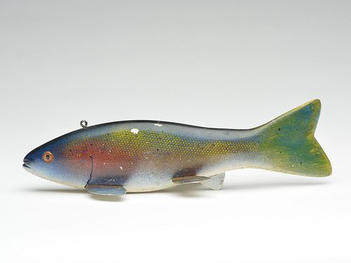 Bass fish decoy, carved by Hans Janner, Sr and painted by Andy Trombley, circa 1940.
