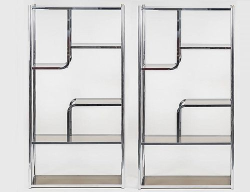 PAIR OF CHROME AND GLASS ETERGES