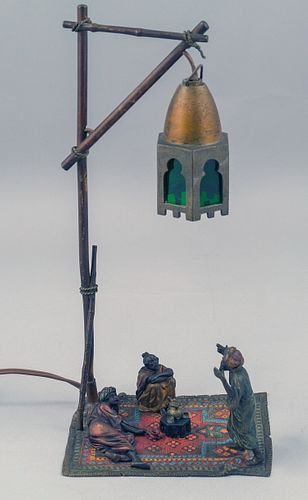 Austrian Cold Painted Bronze Lamp