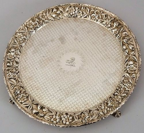 Kirk Sterling Repousse Hand Decorated Salver
