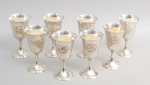 Stieff Rose Hand Chased Sterling Set of 8 Goblets