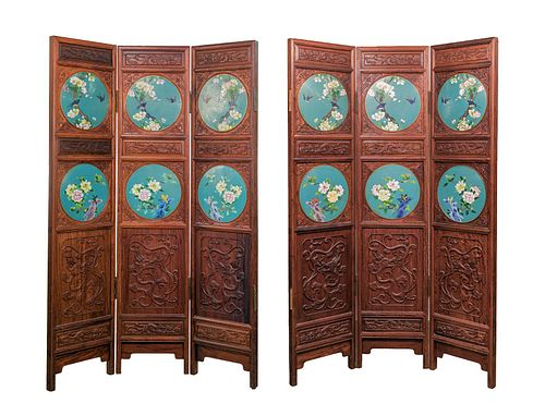 Japanese Meiji Period Cloisonne 6-Panel Screen