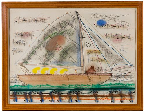 Roy de Forest (American, 1930-2007) 'Four Women in a Sailboat' Pastel and Colored Pencil on Paper