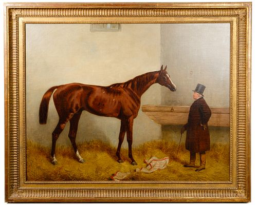 (Attributed to) Harry Hall (c.1814-1882) 'Racehorse and Groom' Oil on Canvas