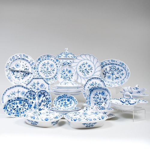 Group of Assembled Meissen Porcelain Serving Wares in the 'Blue Onion' Pattern
