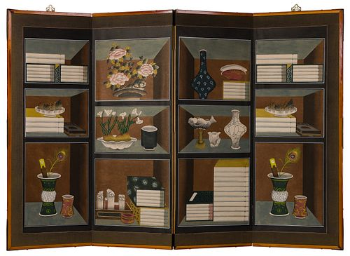 Korean 'Chaekgori' Hidden Seal Folding Screen